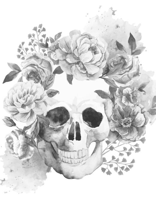 Coloriage grayscale tatouage crane et fleurs