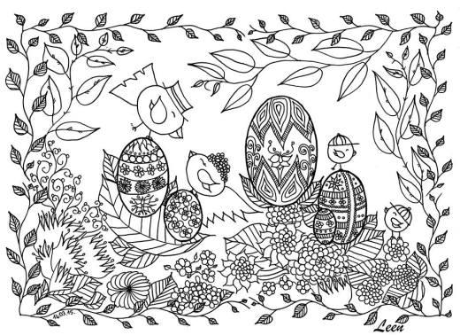Joyeuse Pâques à colorier par Leen Margot