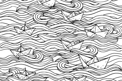 Coloriage bateau en papier sur eau origami pour adulte