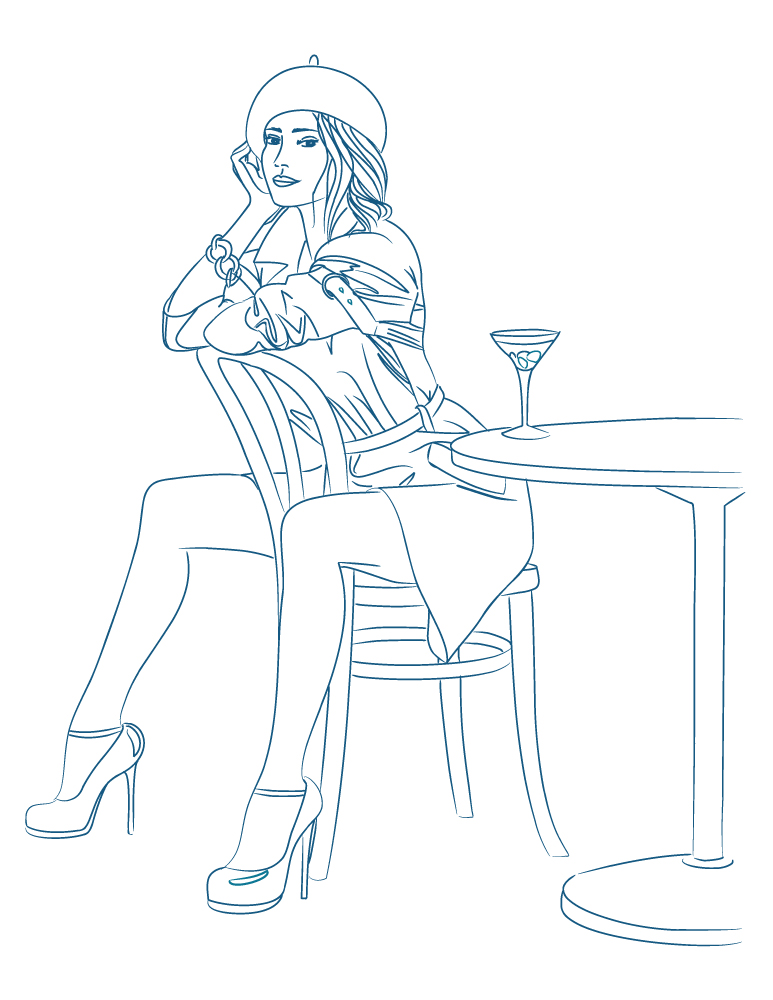 Parfait 5 à 7 mode pour femme à colorier