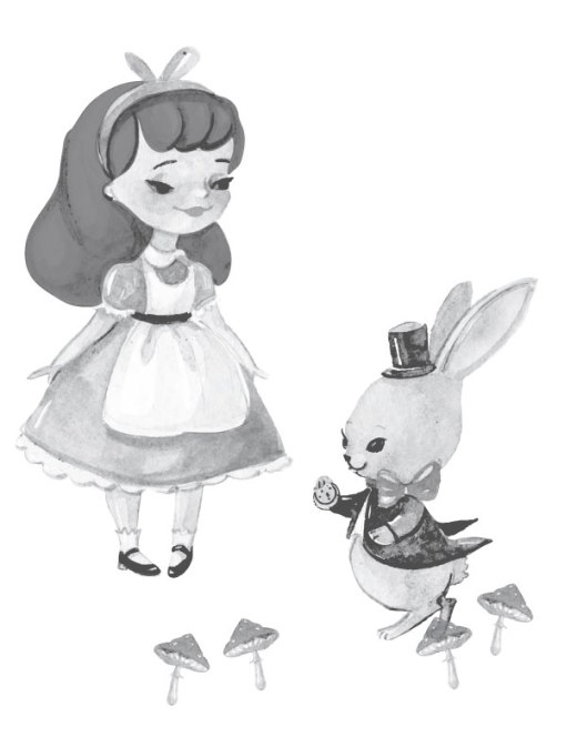 Page de coloriage grayscale Alice in wonderland