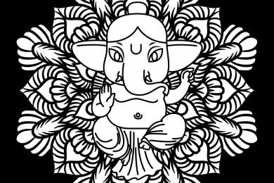 Mandala pour adulte éléphant Ganesh à imprimer