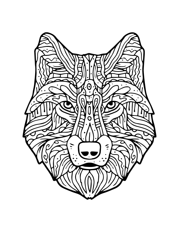 Coloriage Adulte Loup.Mechant Loup A Imprimer Et Colorier Artherapie Adulte Artherapie Ca