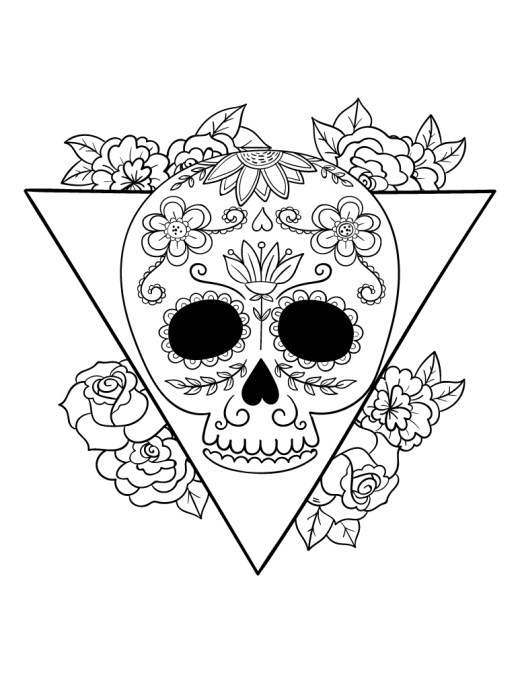 Sugar skull à dessiner artherapie pour adulte