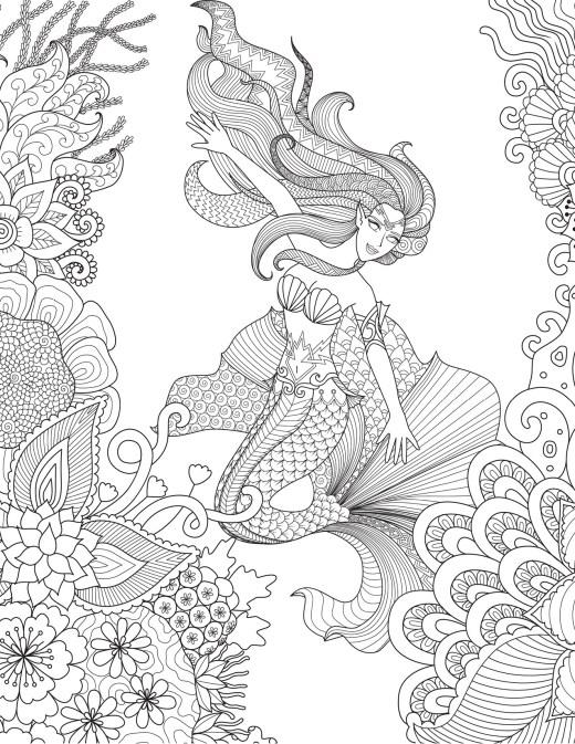 Dessin très difficile merveilleuse sirène à colorier