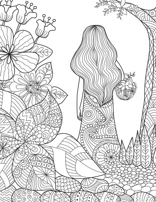 Coloriage de la nature femme dans la foret