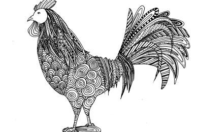 Coloriages difficiles pour adultes gratuits imprimer - Coq a dessiner ...