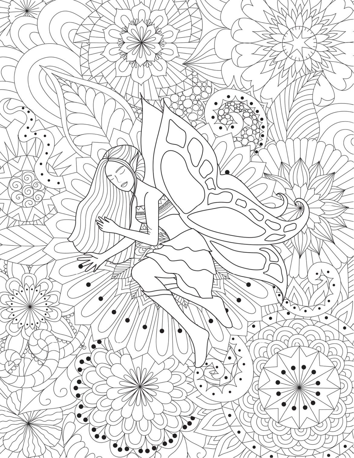 Mandalas Avec Fée Coloriage Très Difficile à Imprimer Artherapieca