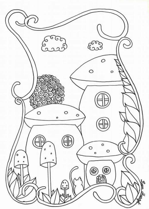 Ville champignon coloriage pour adulte par Leen Margot