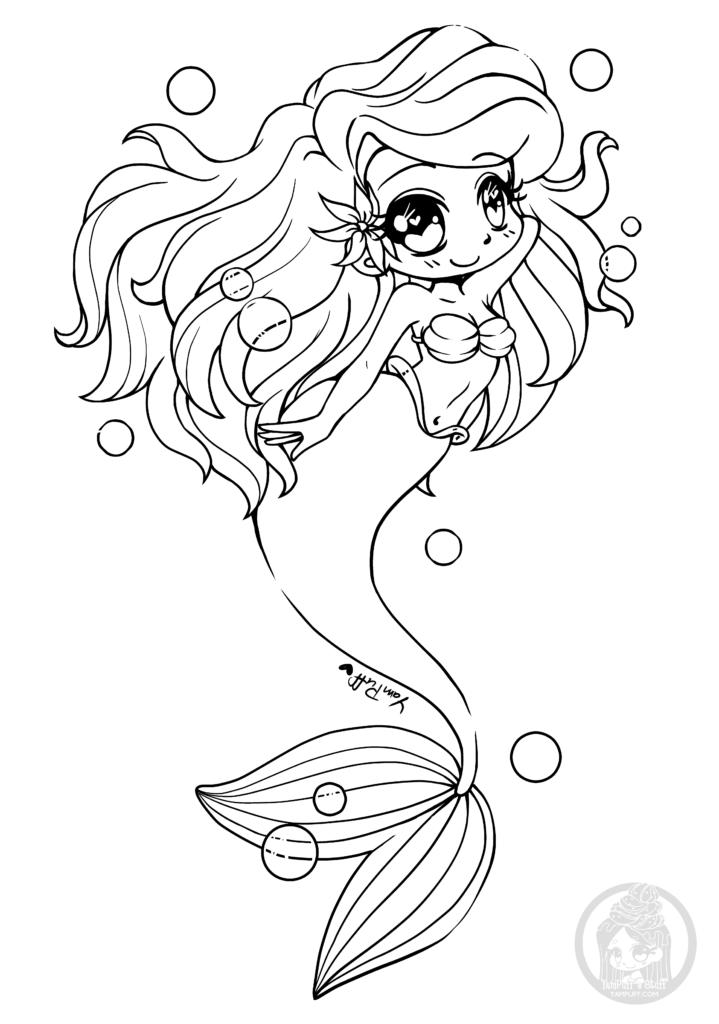 Chibi La Petite Sirene Par Yampuff A Colorier Artherapie Ca