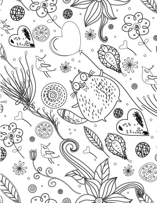 Doodle artherapie drôle de chat à dessiner pour adulte