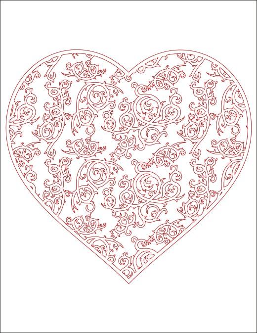 Coloriage gratuit coeur rempli d'épines à imprimer