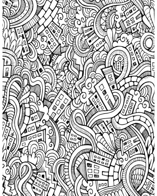Défis coloriage pour adulte doodle ville à imprimer