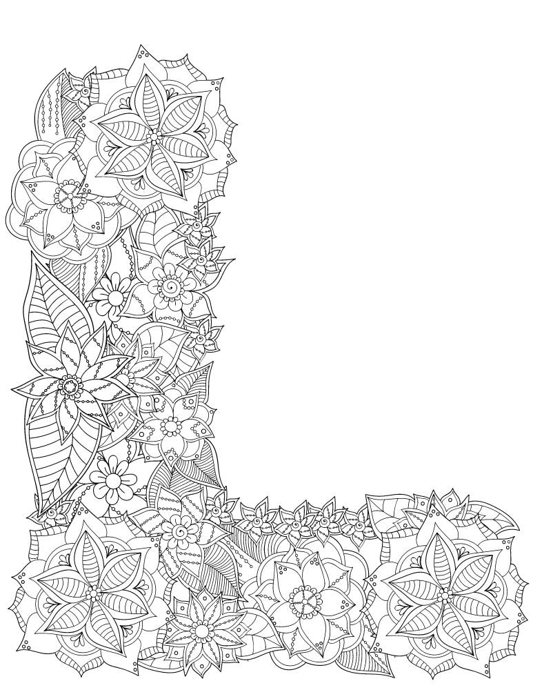 Lettre L fleurs alphabet rigolo gratuit imprimer - Artherapie.ca