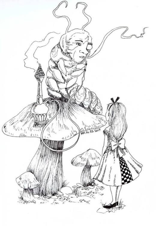 Alice et la chenille image gratuite a imprimer par Maud-Marie