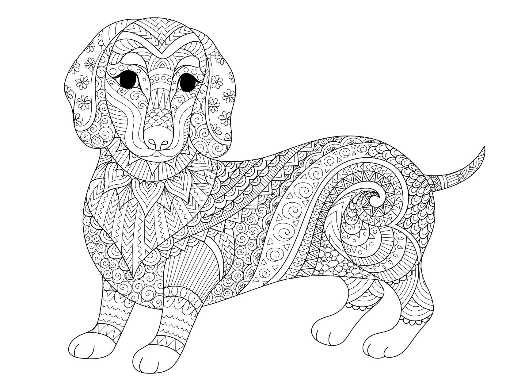 Coloriage de chien la thérapie dessin par Bimbimkha ...