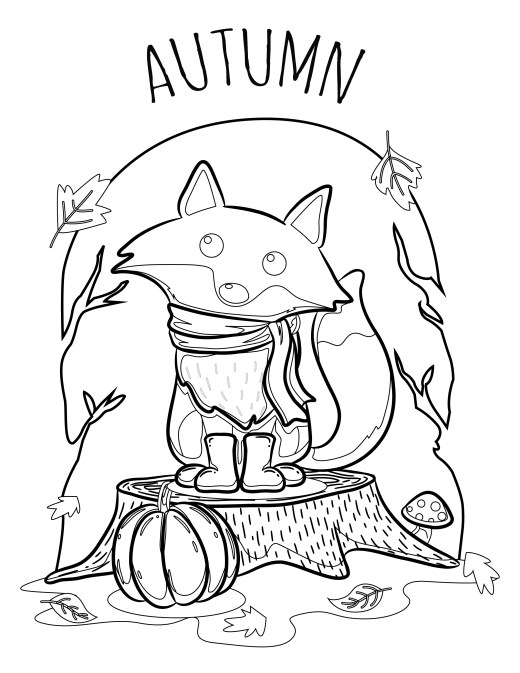 Bienvenue automne coloriage renard pour adulte