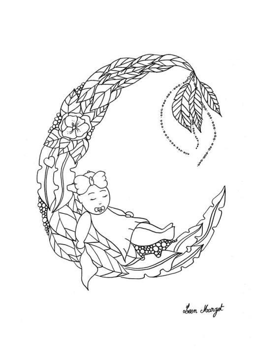 Impression dessin bébé lune par Leen Margot