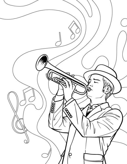 Dessin de musicien jazz trompettiste artherapie
