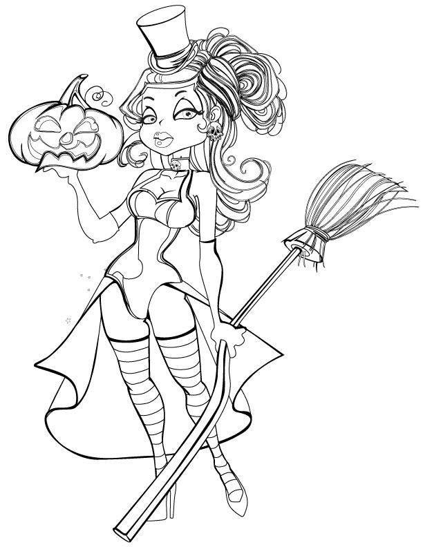Dessin A Imprimer Halloween Femme Sorciere Artherapie Ca