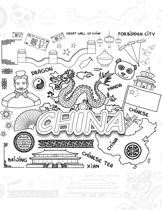 Voyage vers la Chine gratuit coloriage pour adulte à imprimer