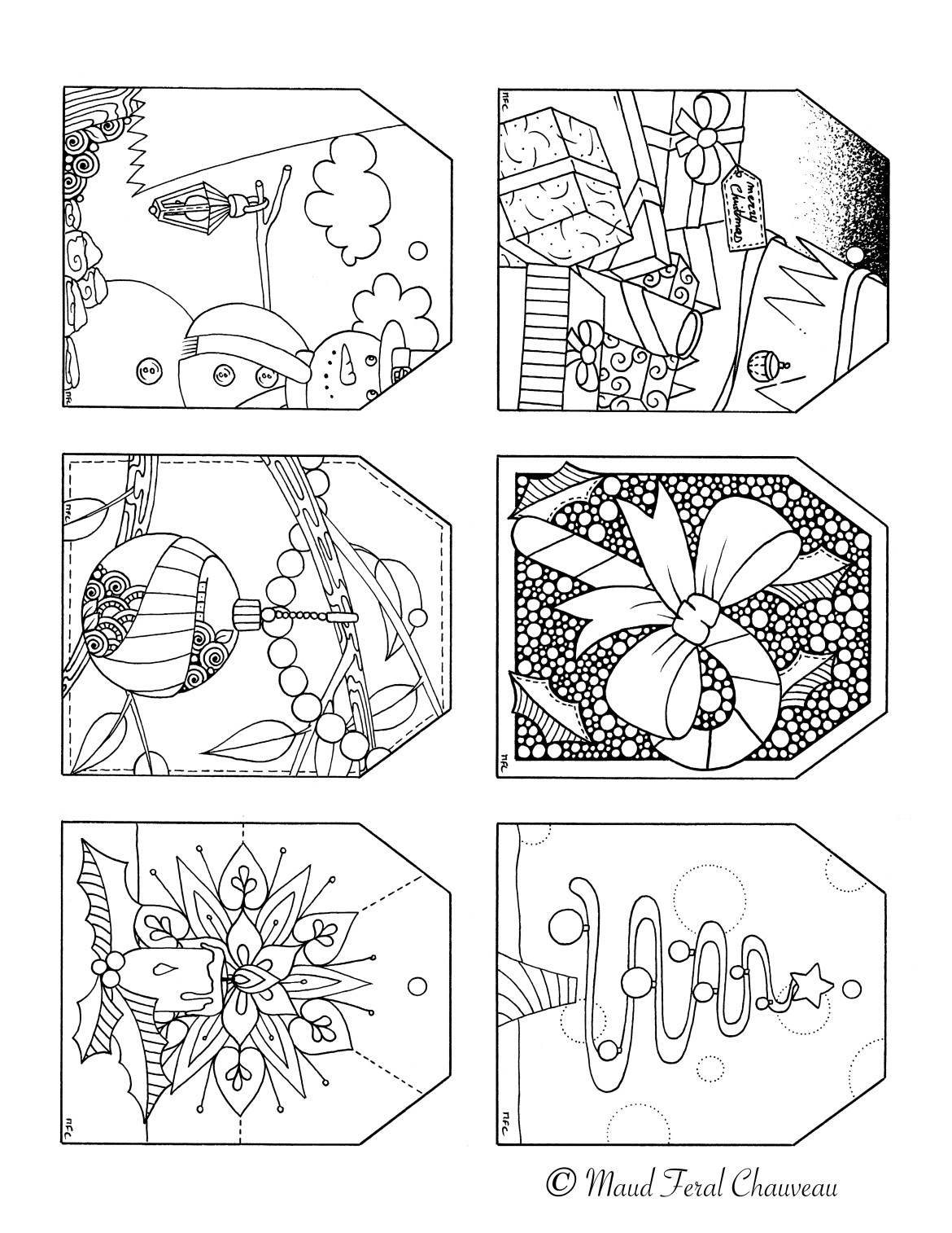 Étiquettes pour cadeaux coloriage noel gratuit par Maud Feral