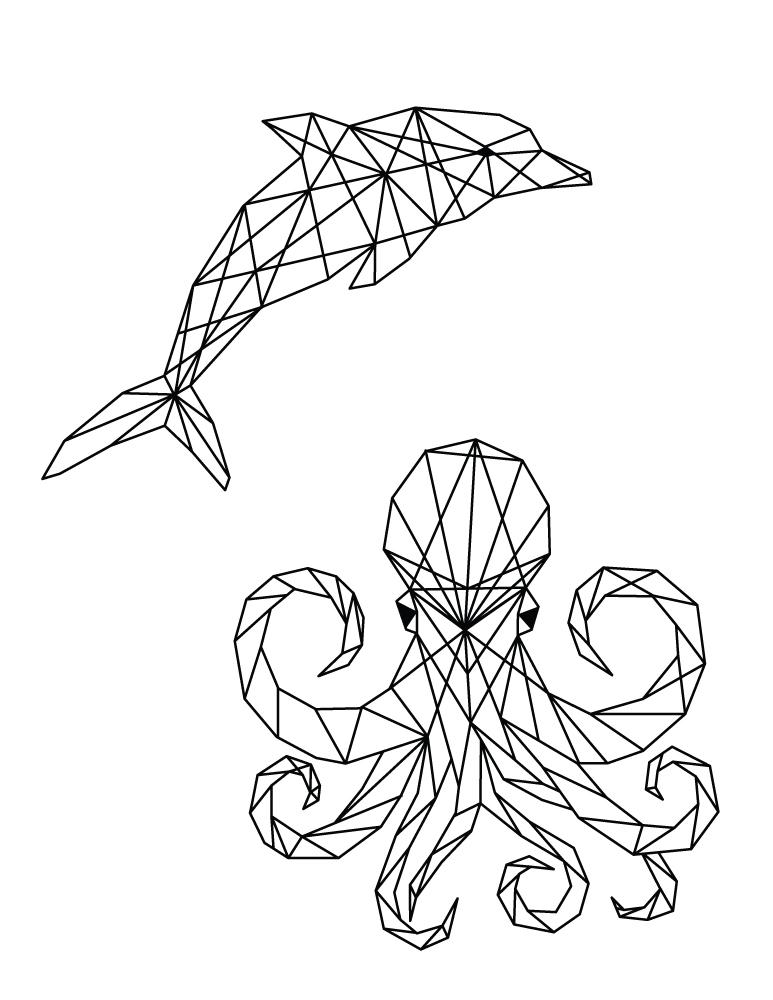 Dauphin et pieuvre à colorier image polygonale pour imprimer
