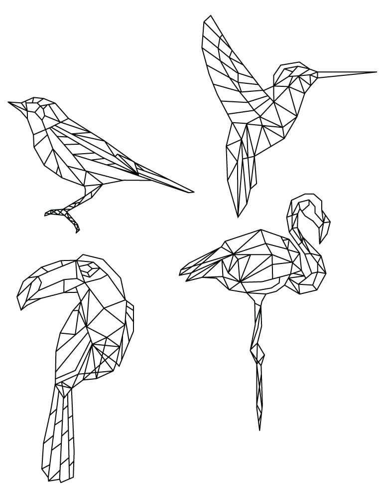 Dessin de coloriage polygonal divers oiseaux artherapie