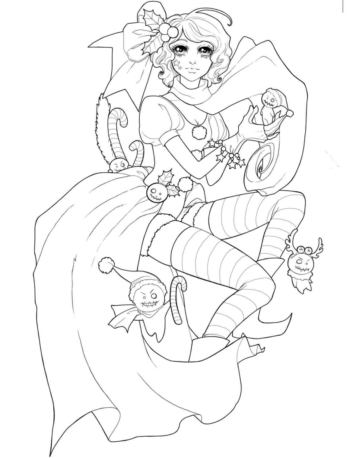Jolie lutin de noël à dessiner pour adulte  par Dar-Chan