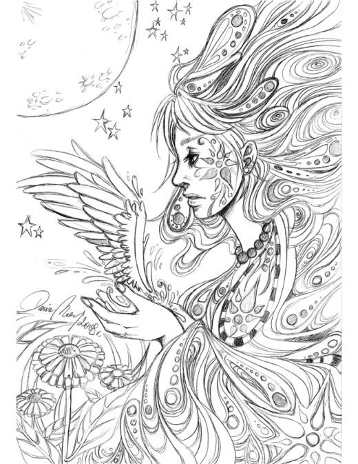 Sketch personnage ange coloriage pour imprimer par Dar-Chan