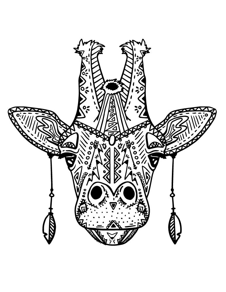 Coloriage Tete De Girafe A Imprimer.Coloriage Magnifique Tete Girafe Mode Boho A Imprimer Artherapie Ca