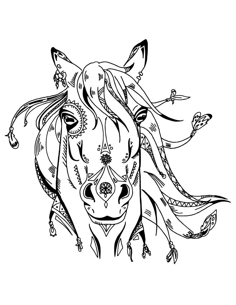 Art Therapie Animaux Cheval Boho Coloriage Pour Adulte A Imprimer