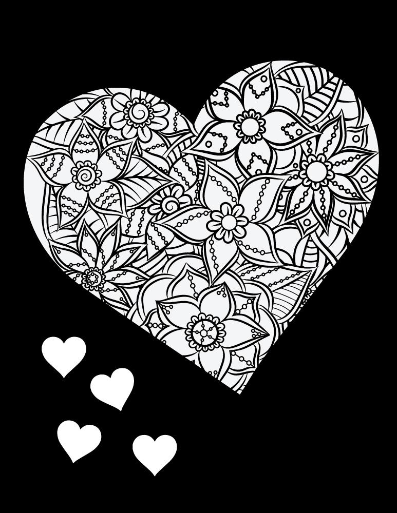 Coeur Fond Noir Dessin A Colorier Et A Imprimer Gratuit