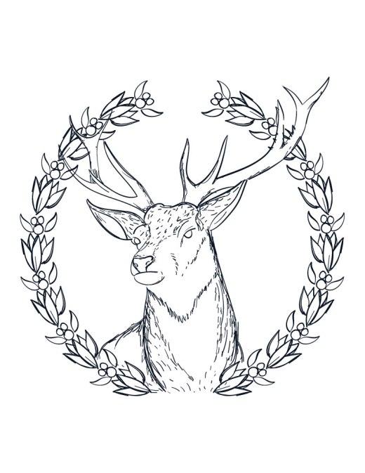 Coloriage a imprimer pere noel couronne de renne adulte