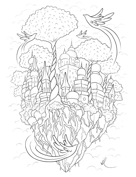Ville de rêve coloriage pour adulte à imprimer par Konstantinos Liaramantzas