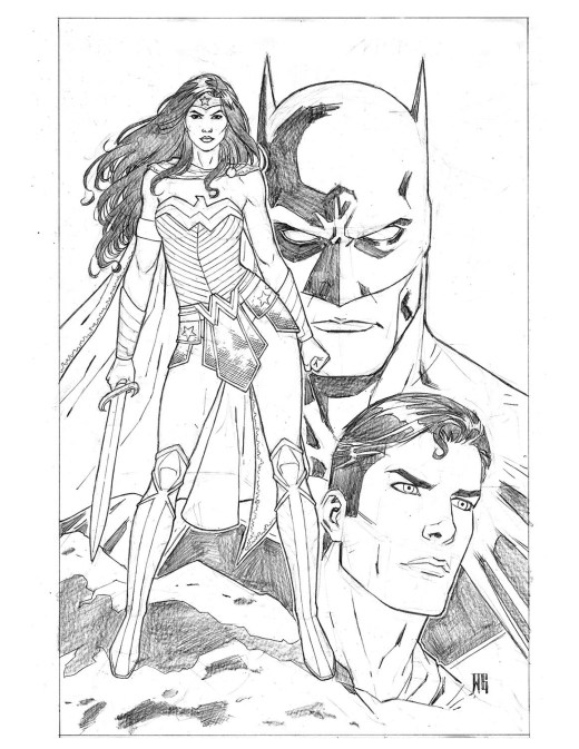 Wonder Woman, Batman et Superman DC Comic par Walter Geovani