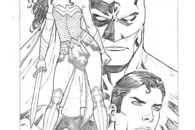 Wonder Woman, Batman et Superman DC Comic par Walter Geovani