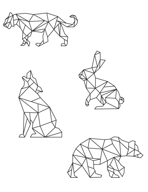 Art thérapie animaux page de coloriage polygonal