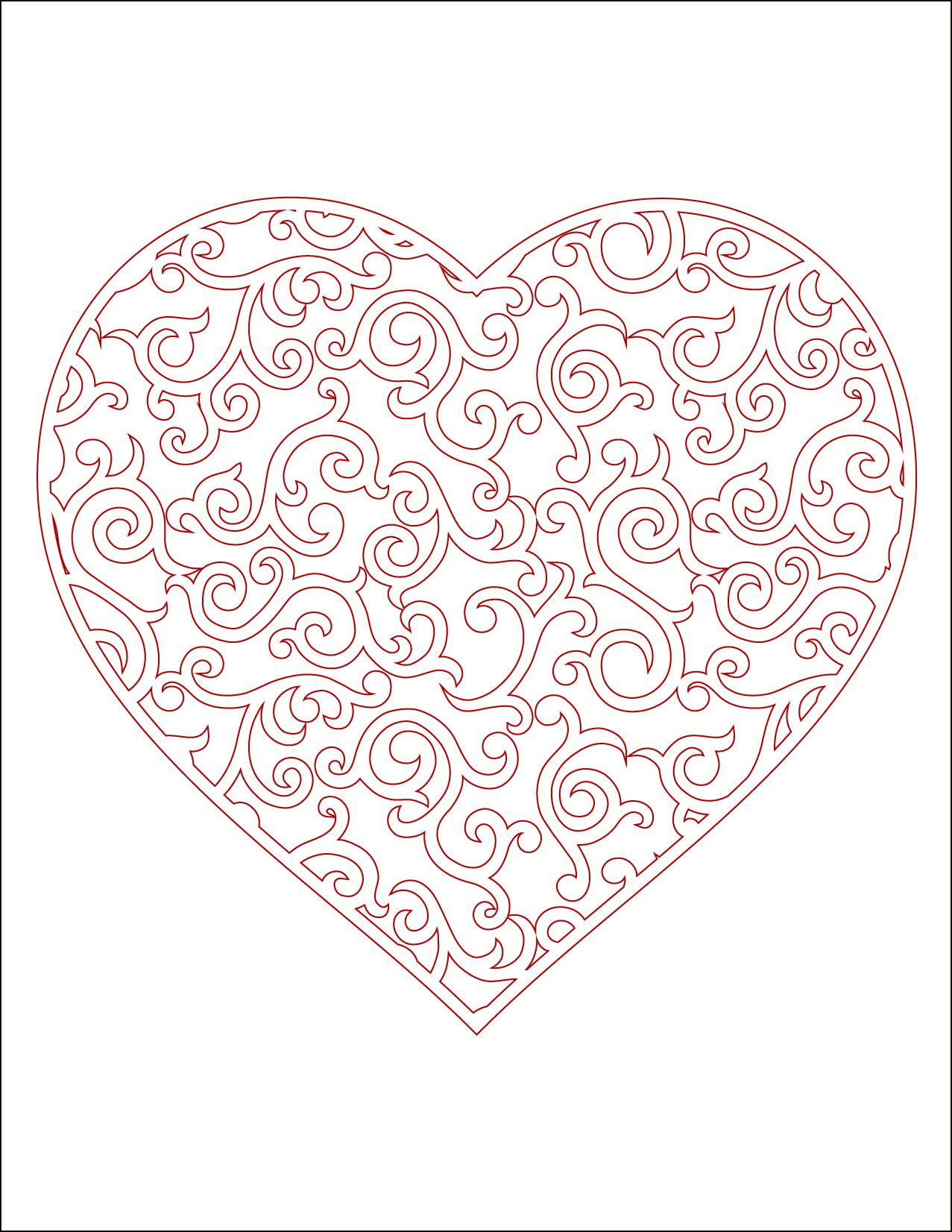 Coeur imprimer en couleur carte st valentin - Coeur a imprimer gratuitement ...