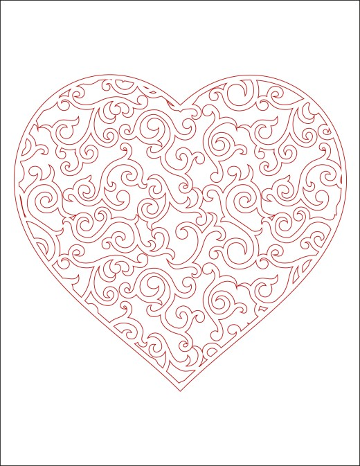 Coeur à imprimer en couleur carte st valentin