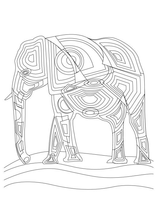 Art thérapie animaux éléphant adult coloring book pages