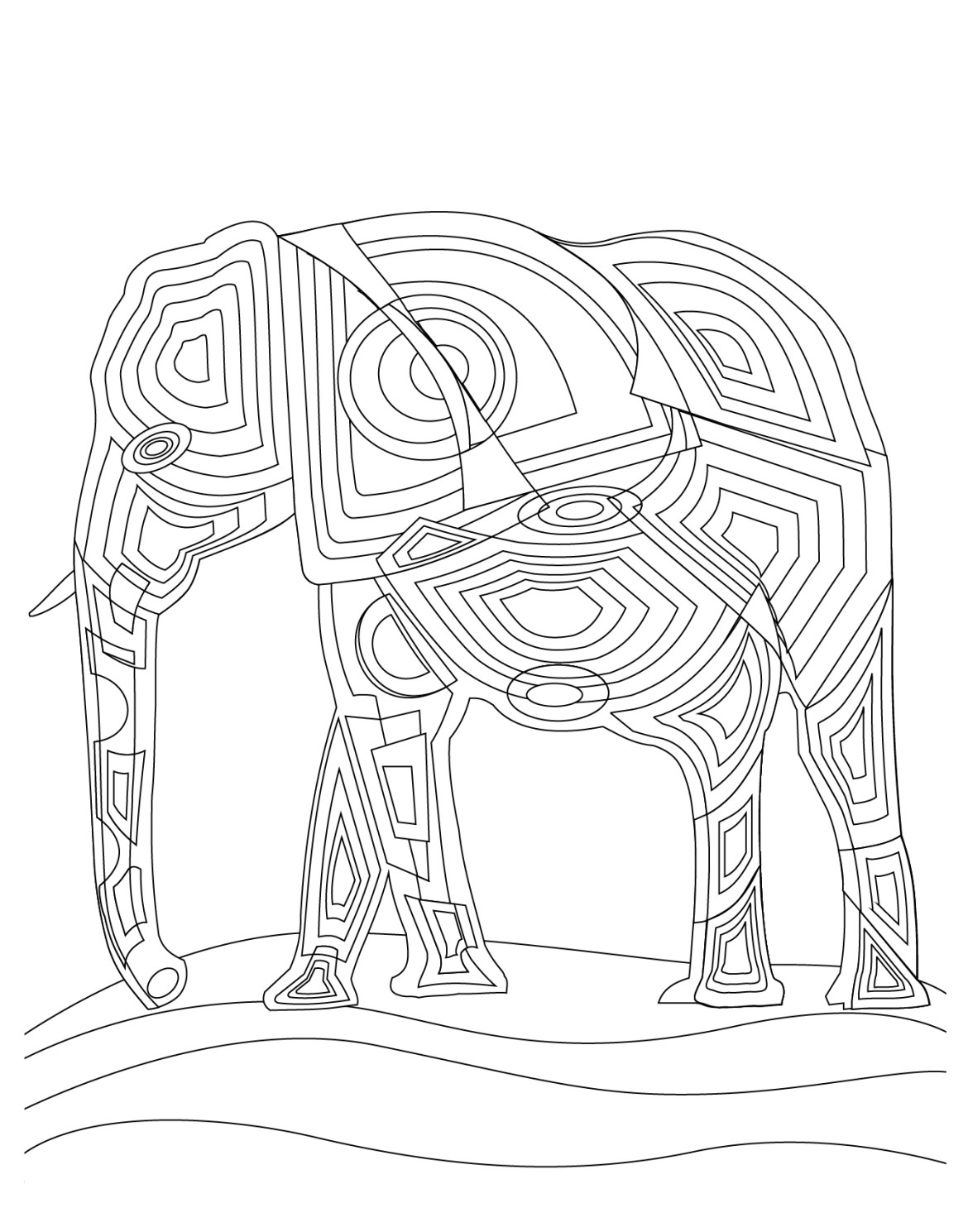 Art thérapie animaux éléphant adult coloring book pages