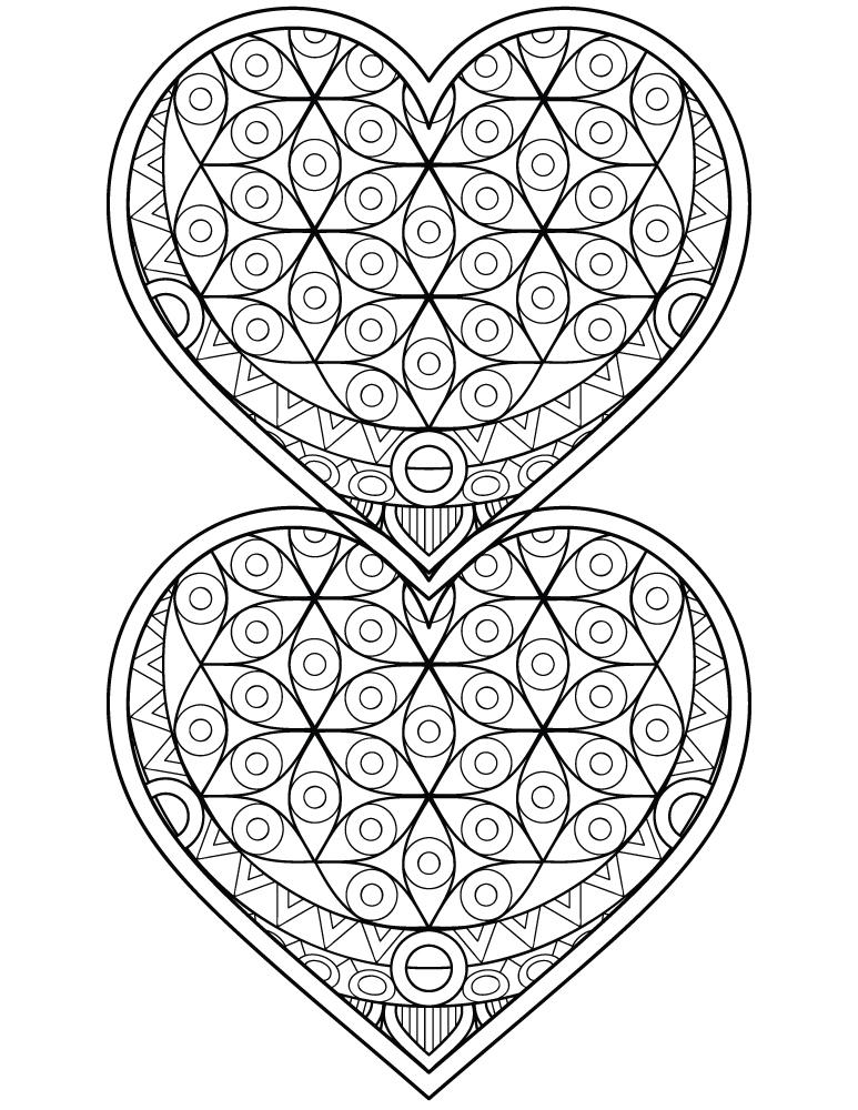 Coloriage Coeur Motif.Dessin A Imprimer Coeur Mandalas A Colorier Pour Adulte