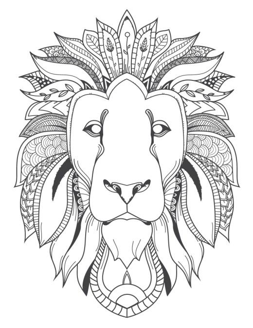 Image félin tête de lion coloriage pour adulte à imprimer