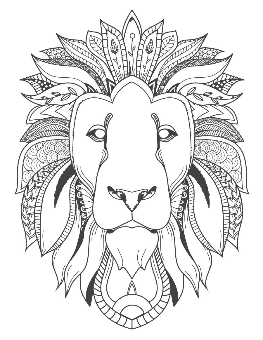 Image félin tête de lion coloriage pour adulte à imprimer ...