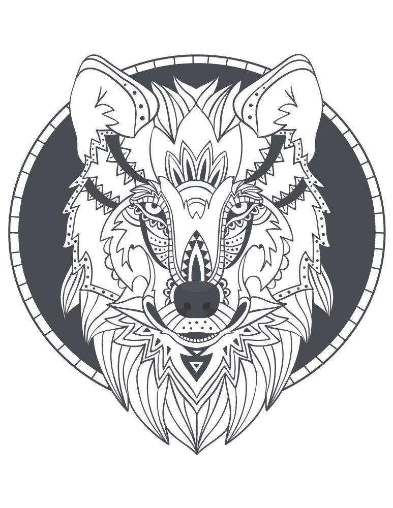 Totem loup imprimer des coloriages parfait tattoo