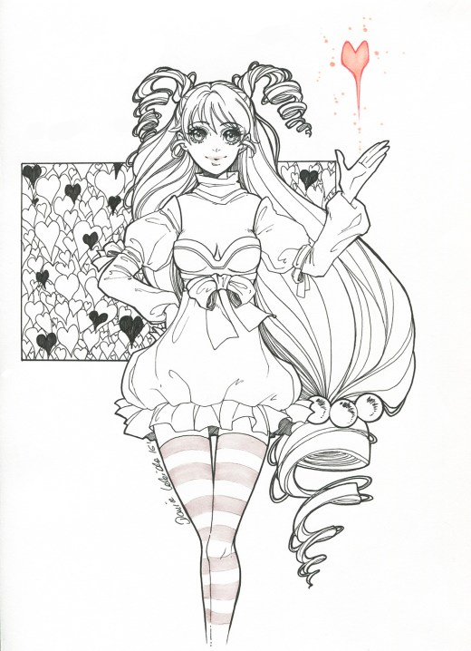 Coloriage de st valentin femme manga sketch par Dar-Chan