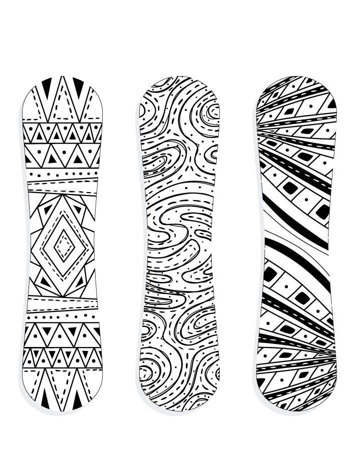 Planche à neige snowboarding sport hiver à colorier