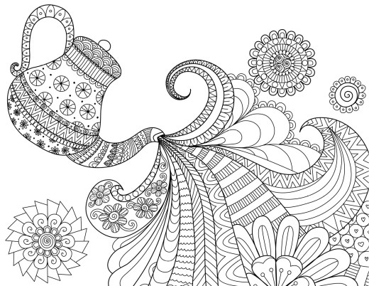 Heure du thé coloriage pour adulte à imprimer par Bimbimkha