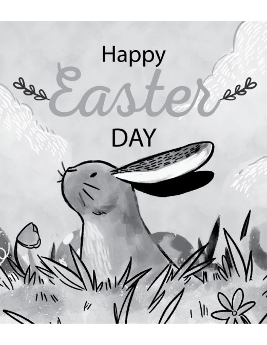 Happy Easter Day page grayscale pour colorier